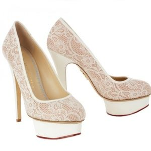Charlotte Olympia Polly Wedding Lace Pumps 39